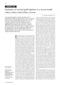 Evaluation of corneal graft rejection in a mouse model