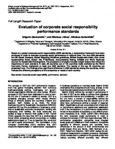 Evaluation of corporate social responsibility ... - Academic Journals