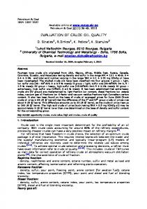 EVALUATION OF CRUDE OIL QUALITY