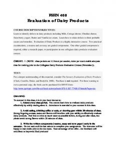 Evaluation of Dairy Products