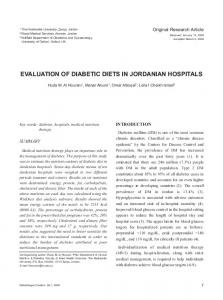EVALUATION OF DIABETIC DIETS IN JORDANIAN HOSPITALS