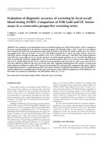 Evaluation of diagnostic accuracy of screening by fecal occult blood ...