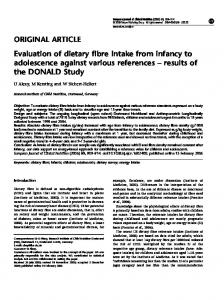 Evaluation of dietary fibre intake from infancy to adolescence ... - Nature