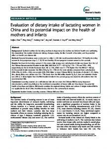 Evaluation of dietary intake of lactating women in ... - BioMedSearch