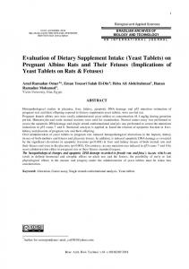 Evaluation of Dietary Supplement Intake (Yeast Tablets) on Pregnant