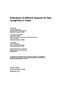 Evaluation of different features for face recognition in video - Defence ...