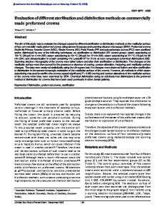 Evaluation of different sterilization and disinfection ...