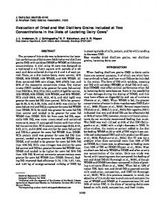 Evaluation of Dried and Wet Distillers Grains Included at Two ...