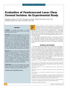 Evaluation of Femtosecond Laser Clear Corneal