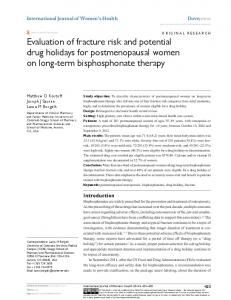 evaluation of fracture risk and potential drug holidays ... - BioMedSearch