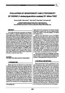 EVALUATION OF GENOTOXICITY AND ...