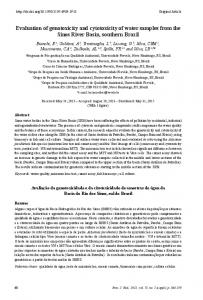 Evaluation of genotoxicity and cytotoxicity of water