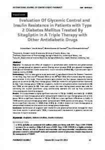 Evaluation Of Glycemic Control and Insulin ...