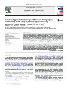 Evaluation of glycosidic bond cleavage and formation ...