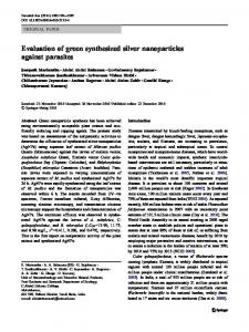 Evaluation of green synthesized silver nanoparticles ... - Springer Link