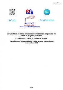 Evaluation of hand-transmitted vibration exposure on ...