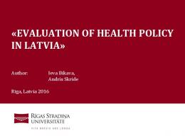 evaluation of health policy in latvia