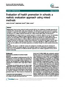Evaluation of health promotion in schools - Education and public health