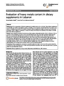 Evaluation of heavy metals content in dietary ... - BioMedSearch