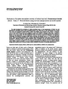 Evaluation of in vitro antioxidant activity of Indian bay leaf ...