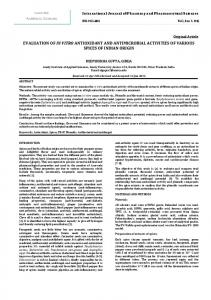 evaluation of in vitro antioxidant and antimicrobial activities of various ...