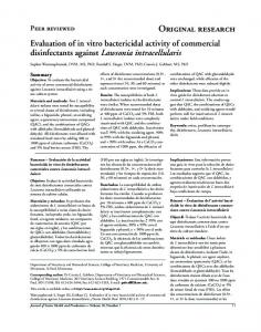 Evaluation of in vitro bactericidal activity of commercial disinfectants ...