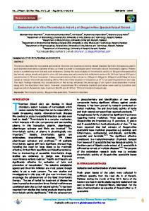 Evaluation of In Vitro Thrombolytic Activity of ...