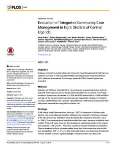Evaluation of Integrated Community Case Management in Eight ...https://www.researchgate.net/...Case_Management.../Evaluation-of-Integrated-Commu...