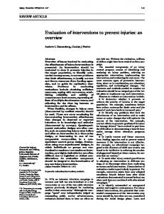 Evaluation of interventions to prevent injuries: an overview - NCBI