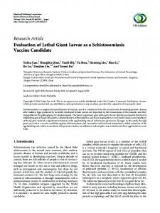 Evaluation of Lethal Giant Larvae as a Schistosomiasis Vaccine ...