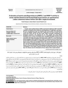 Evaluation of matrix metalloproteinases (MMP) - Veterinary Research ...