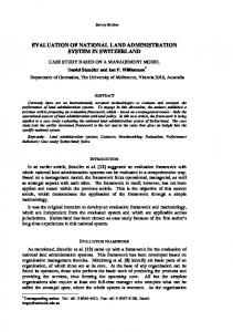 EVALUATION OF NATIONAL LAND ADMINISTRATION SYSTEM IN ...