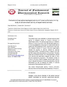 Evaluation of neuropharmacological activity of ...