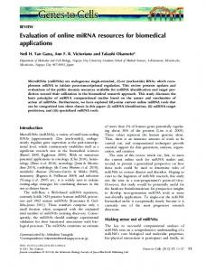 Evaluation of online miRNA resources for ... - Wiley Online Library