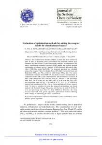 Evaluation of optimization methods for solving the receptor ... - doiSerbia