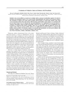 Evaluation of Oxidative Status in Patients with