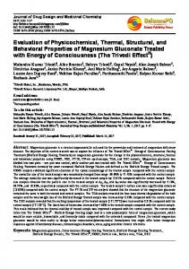 Evaluation of Physicochemical, Thermal, Structural, and Behavioral ...