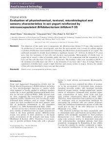 Evaluation of physiochemical, textural ...