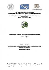 Evaluation of political control instruments for the ... - AgEcon Search