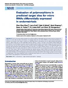 Evaluation of polymorphisms in predicted target sites for micro RNAs ...