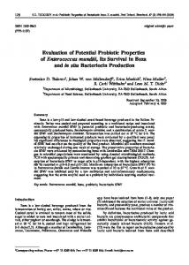 Evaluation of Potential Probiotic Properties of