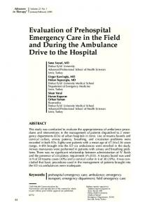 Evaluation of prehospital emergency care in the field ...