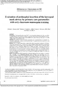 Evaluation of prehospital insertion of the laryngeal ...