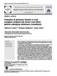 Evaluation of pulmonary function in renal