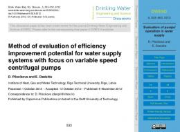 Evaluation of pumps' operation in water supply - Drinking Water ...