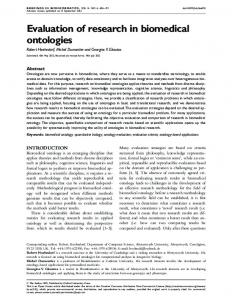 Evaluation of research in biomedical ontologies - BioMedSearch