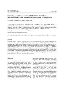 Evaluation of resistance sources and inheritance of resistance in ...