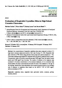 Evaluation of Respirable Crystalline Silica in High School ... - MDPI