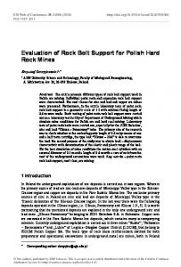 Evaluation of Rock Bolt Support for Polish Hard Rock Mines