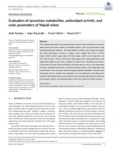 Evaluation of secondary metabolites, antioxidant